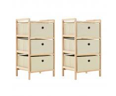 vidaXL Estantería de madera de cedro con 3 cestas de tela 2 uds beige