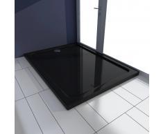 vidaXL Plato de ducha rectangular de ABS, color negro, 80 x 110 cm