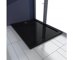 vidaXL Plato de ducha rectangular ABS, color negro, 80 x 110 cm