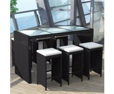 vidaXL Mesa y sillas bar de jardín 7 pzas y cojines poli ratán negro