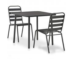 vidaXL Mesa y sillas bistró de jardín 3 piezas acero gris oscuro