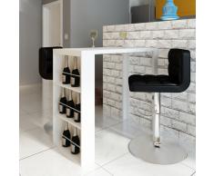 vidaXL Alto Brillo Mesa de Bar Comedor con 3 Estantes Blanco