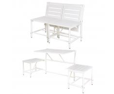 Esschert Design Banco blanco de jardín, BL064
