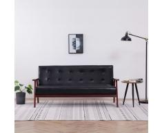 vidaXL Sofá de 3 plazas cuero sintético negro