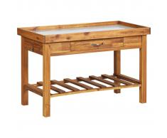 vidaXL Mesa de cultivo de jardín madera maciza acacia tablero de zinc