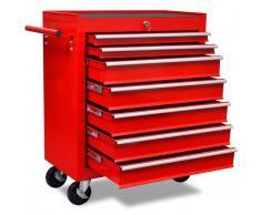 vidaXL Carrito de herramientas rojo de 7 cajones
