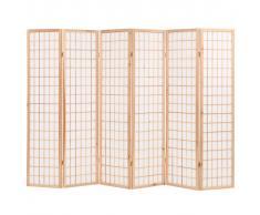 vidaXL Biombo plegable con 6 paneles estilo japonés 240x170 cm natural