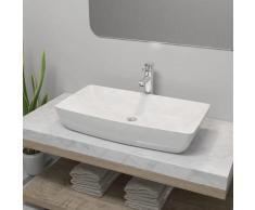 vidaXL Lavabo de baño rectangular con grifo mezclador cerámica blanco