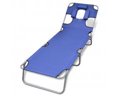 vidaXL Tumbona azúl plegable con cojín para la cabeza y respaldo ajustable