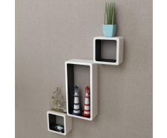 vidaXL Estanterías de cubos para pared 6 unidades blanco y negro