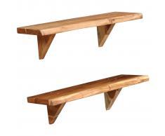 vidaXL Estantes de pared 2 uds. 60x20x16 cm madera maciza de acacia