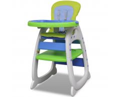 vidaXL Trona alta para bebé convertible 3-en-1, Azul/ Verde