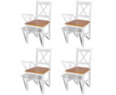 vidaXL Sillas de comedor 4 unidades madera de pino blancas