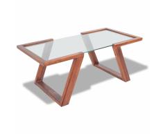 vidaXL Mesa de centro de madera maciza de acacia 100x50x40 cm marrón