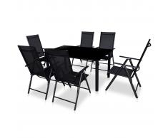 vidaXL Comedor de jardín con sillas plegables 7 piezas aluminio negro