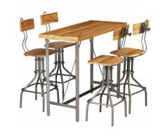 vidaXL Set mesa y sillas de bar madera teca maciza reciclada 5 piezas