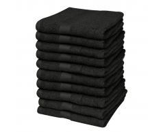 vidaXL Toallas de cortesía 10 unidades algodón 500 gsm 30x50 negras
