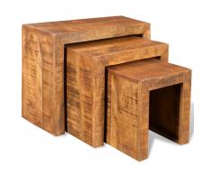 vidaXL Set de 3 mesitas apilables madera maciza mango