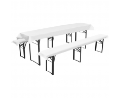 vidaXL Mantel para 1 mesa alargada y 2 fundas blancas para 2 bancos, 240x90cm