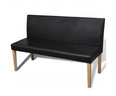 vidaXL Sofá banco de cuero artificial color marrón oscuro