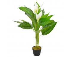 vidaXL Planta artificial Anthurium con macetero 90 cm blanca