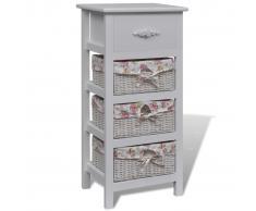 vidaXL Armario con un cajón y tres cestas madera paulownia blanca
