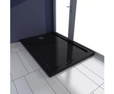 vidaXL Plato de ducha rectangular de ABS, color negro, 70 x 100 cm