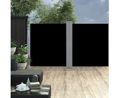 vidaXL Toldo lateral doble y retráctil de jardín negro 170x600 cm