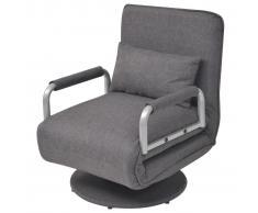 vidaXL Silla giratoria y sofá cama color gris oscuro 60x75x80 cm
