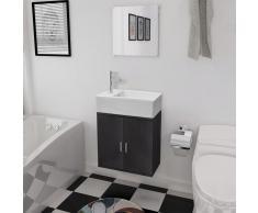 vidaXL Conjunto de mueble y lavabo negro 3 piezas