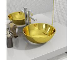 vidaXL Lavabo 28x10 cm cerámica dorado