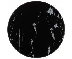 vidaXL Tablero para mesa vidrio con textura de mármol negro Ø30 cm