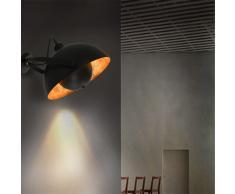 vidaXL Lámpara de pared negro y dorado semiesférica E27