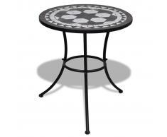 vidaXL Mesa mosaico color negro y blanco, 60 cm