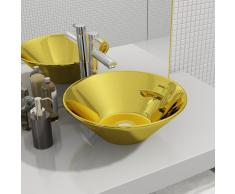 vidaXL Lavabo 42x14 cm cerámica dorado