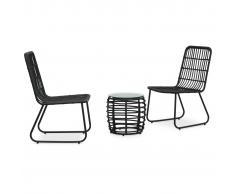 vidaXL Set de mesa y sillas de jardín 3 piezas ratán sintético negro
