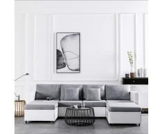 vidaXL Sofá cama extraíble de 4 plazas cuero sintético blanco
