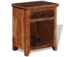 vidaXL Mesita de noche madera maciza de acacia y durmientes de madera