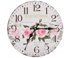 vidaXL Reloj de pared vintage con flores 30 cm