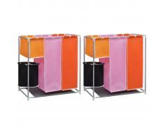 vidaXL Cesto de ropa sucia 2 unidades 3 secciones con cubo de lavado