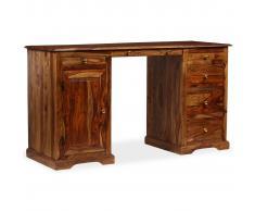 vidaXL Escritorio de pedestal madera maciza de Sheesham 140x50x76 cm
