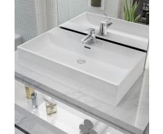 vidaXL Lavabo con orificio para grifo cerámica 76x42,5x14,5 cm blanco
