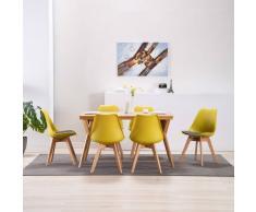 vidaXL Silla de comedor 6 unidades cuero sintético amarillo y negro