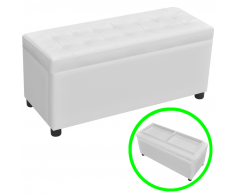 vidaXL Banco baúl de almacenamiento cuero artificial y botones blanco