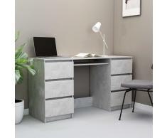 vidaXL Escritorio de aglomerado gris hormigón 140x50x77 cm