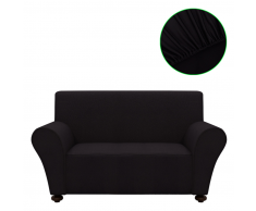 vidaXL funda elástica para sofá de tela jersey poliéster negra