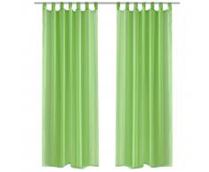 vidaXL 2 Cortinas verdes transparentes 140 x 245 cm