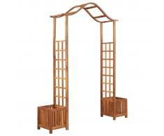 vidaXL Arco de jardín con jardinera de madera maciza 180x40x218 cm