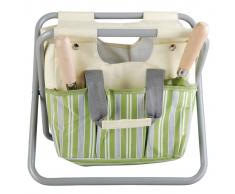 Esschert Design Bolso de herramientas de jardín taburete a rayas EL032