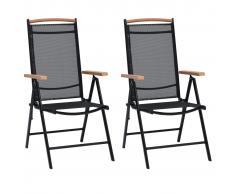 vidaXL Sillas de jardín plegables 2 uds aluminio y textilene negro